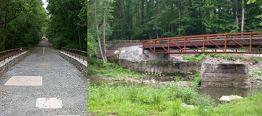 photos of eastside trail looking north and bridge from east side of creek