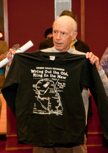 photo of Bob Bennett with event T-shirt