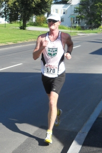 photo of Mark Deshon at six-mile point of 2013 Maine Lobster Festival 5K