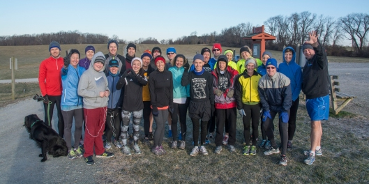 """photo of participants in the 16th Annual """"Wring Out the Old, Ring in the New"""" trail run"""