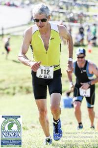 photo of Doug Repetti finishing in the 2015 Top of Delaware Sprint Triathlon