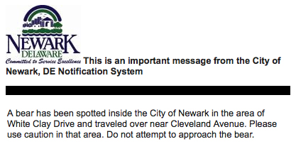 bear-sighting notice by City of Newark