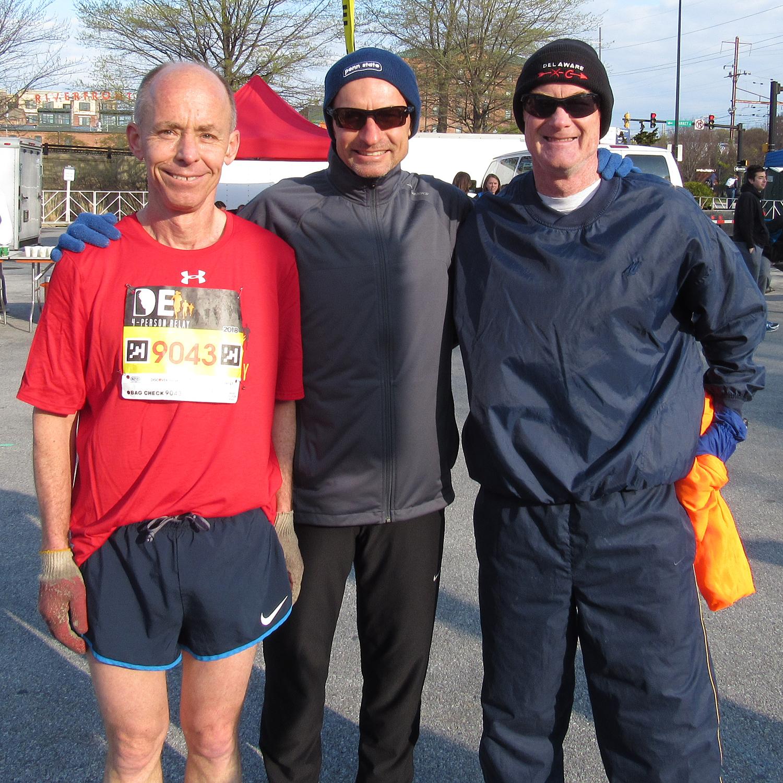 photo of Bill Rose, Bill Farquhar, and Mark Deshon (holding Bruce Weber's jacket during leg 2)