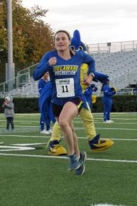 photo of Jo Baird finishing Homecoming 5K