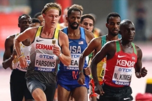 photo of Sam Parsons competing in Doha, Qatar, among the world's best