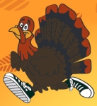 illustration of turkey with running shoes