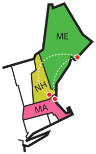 graphic map of northern New England showing locations of 3 runs