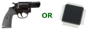 """gun or chip"" graphic"
